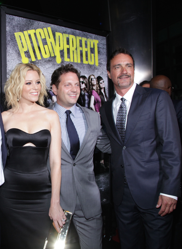 Pitch Perfect 2 executive producer Scott Niemeyer, on right, with actress/producer Elizabeth Banks and producer Max Handelman. Photo courtesy Brandon Clark/ABImages