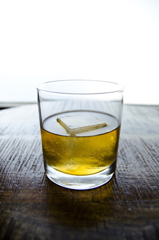 """""""The Lazy River"""" customer's choice of scotch on the rock"""