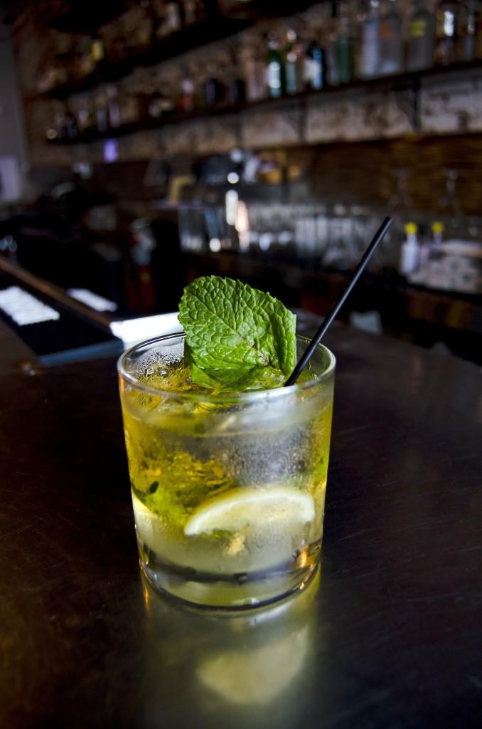 """Whiskey River"" Buffalo Trace Bourbon, mint, lemon, simple syrup"