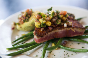 (Photo by Collin Richie) Blackened Ahi Tuna with fried avocado and mango salsa at Bistro Byronz.