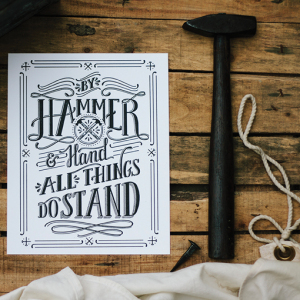 This print, made by a letterpress, illustrates Smith's core sentiment. She created her website, Makers Workshop, in 2012 on the belief that all things can be made beautifully, simply and with great function. She uses her skills as a stylist to communicate desired impressions and tell the stories behind the products. Photo by Lindsey Shiflett Smith.