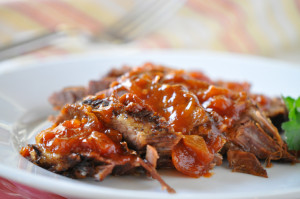Holly Clegg, brisket with mango barbecue sauce