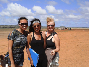 Sandra Algood-Taylor (right) with fellow costumers and stylists Renessa Keteldijk and Jessie Fell on location in Curacao while filming Tula: The Revolt.